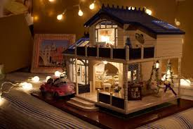 doll house lighting. Amazon.com: DIY Wooden Dollhouse Miniature Kit Wood House Toy \u0026 LED Light With All Furnitures Car By Youku: Toys Games Doll Lighting I