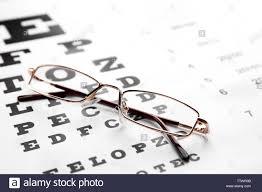 Lying Eye Chart Glasses Lying On Eye Test Chart Close Up View Healthy Eyes