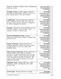 Performance Evaluation Template Template Business