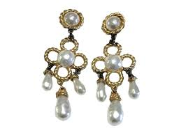 full size of gold pearl statement chandelier earrings india crystal and bridal tone hardware with