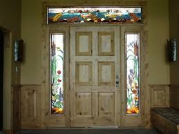 custom made stained glass side lights and transom jackson hole wy trout theme