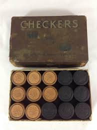 details about vintage set of 30 wooden checker pieces by the embossing company