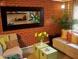 living room with brick accent wall design