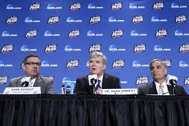 ncaa president mark emmert and south carolina president harris pastides speak during a 2016 final four press conference photo by robert deutsch usa