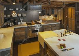 luxurious rustic fully equipped log cabin kitchen stock photo