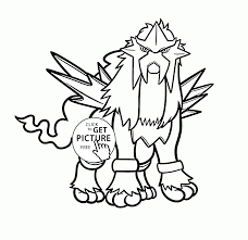 Legendary Pokemon Entei Coloring Pages For Kids Pokemon Characters