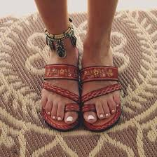 shoes jewels beach shoes sandals brown shoes summer leather aztec open toes boho gypsy flip