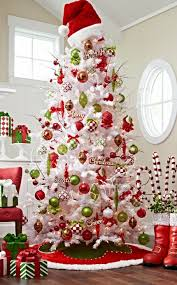 White Iced Fir Tree. Christmas Tree Themes Colors RedChristmas ...