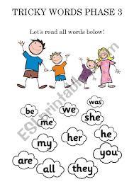 Short vowels, long vowels, consonant blends/digraphs, and advanced phonics sounds. Tricky Words Phase 3 Reading Worksheet Esl Worksheet By Eslteacher212