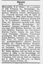 "1994 Sep 8 Th WH ""Billie"" Mulllins OBIT - Newspapers.com"