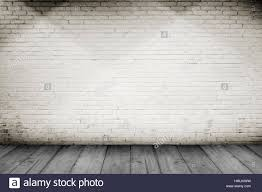 white wood floor background. Room Interior Vintage With White Brick Wall And Wood Floor Background W