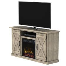 media console electric fireplace in ashland pine light brown