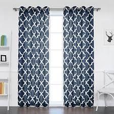 Best Home Fashion Oxford Basketweave Moroccan Print Curtains - Stainless  Steel Nickel Grommet Top - Navy - 52