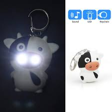Vibola Cute Cow Keychain With Led Light And Sound Effects 3d Cute Cartoon Key Holder Keyfob For Children Designer Key Ring For Kids Christmas