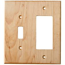 Light Plate Covers Maple Wood Wall Plate 2 Gang Combo Light Switch Gfci Outlet Cover
