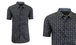 Men's Patterned Dress Shirts Awesome Harvic Men's Slim Fit Patterned Dress Shirts Black Sky SizeXL