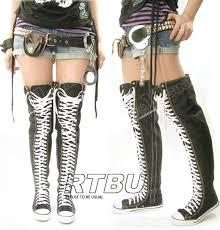 converse knee high boots. punk-emo-goth-thigh-high-canvas-lace-up- converse knee high boots