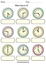 Time Worksheets Hour And Half Past Worksheets for all   Download ...