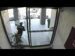 grab and smash bag thief runs through glass door no comment