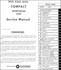 1971 1972 dodge b100 b200 b300 sportsman van repair shop manual table of contents
