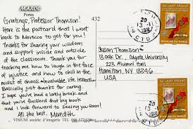copy of the postcard sent to professor thomson