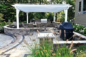 outdoor kitchen with granite and vinyl pergola patio omaha ne bars