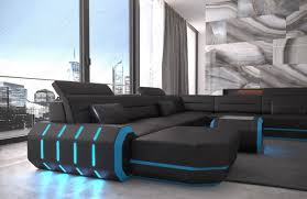 modern leather sofa with led lights an usb connection black blue