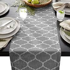 cotton linen burlap table runner moroccan quatrefoil geometric print gray for wedding party holiday dinner