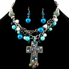 cross bubble pearl chain necklace with earrings image 1