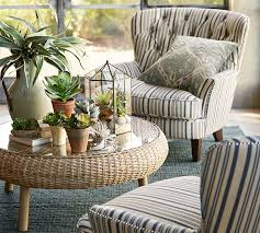 pottery barn accent chairs. Cardiff Upholstered Tufted Armchair With Nailhead - Antique Stripe   Pottery Barn Accent Chairs V