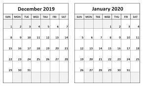 Blank Dec 2020 Calendar December 2019 January 2020 Calendar Two Month Per Page
