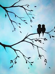 items similar to large abstract painting art love birds in tree modern contemporary canvas art 16x20x 75 on