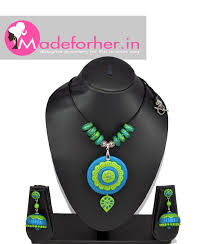 blue green polymer clay necklace pendant india