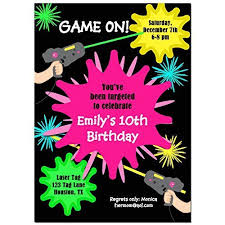 Amazon Com Laser Tag Girl Party Invitations With Any