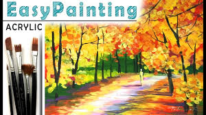 how to paint beautiful fall forest landscape acrylic paint tutorial for beginners tree painting 如何