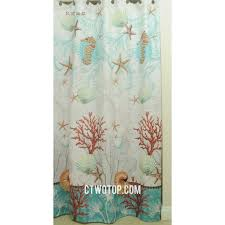 Beige And Green Coral Unique Designer Waterproof Shower Curtains