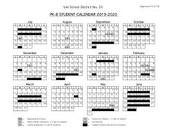 Printable Attendance Calendar 2020 2019 2020 Student Calendars Vail School District