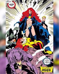 mrs scott summers the goblin queen madelyne pryor her son baby cable and her brother in law havok nothing like walt simonson art from inferno