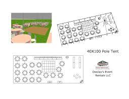 40x pole tent layouts