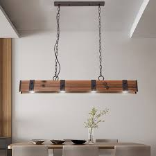 rowen industrial loft style 4 light led linear rust black wood metal island pendant light