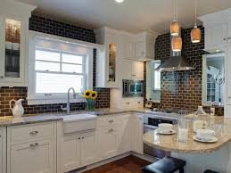 kitchen subway tiles bathroom brown classic wood kitchen cabinet cylinder stainless fry pan white fiberglass