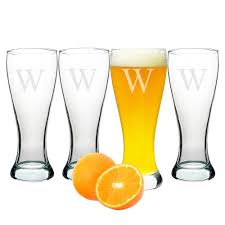 Cathy's Concepts Personalized Pilsner Glass Set (Set of 4)-Q, Clear