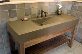 Bathroom Contemporary Brown Lacquered Mahogany Open Shelf Vanity