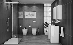 bathroom glass shower stalls and double white wash stand on the floor and grey wall