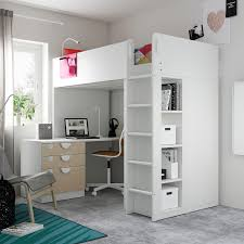 Weitere regale und schubladen bieten ausreichend ablageflächen bzw. Smastad Hochbett Weiss Birke Mit Schreibtisch 4 Schubladen Ikea Osterreich