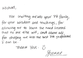 Thank You Card From Our Intern Yvoone Levine Communications Office