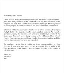 Sample Letter Of Recommendation For College Admission From Teacher Student Letter Of Recommendation From Teacher Template College