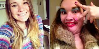 funny ugly face lots makeup