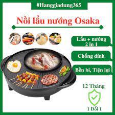 Nồi Lẩu Nướng Điện Osaka Hàn Quốc - Bếp Lẩu Nướng Tròn BBQ 2 Trong 1 - Bếp  Lẩu Đa Năng 2in1 - Bảo Hành 12 Tháng - Nồi nấu đa năng