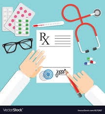 doctor prescription pad doctor writing notes on a prescription pad vector image